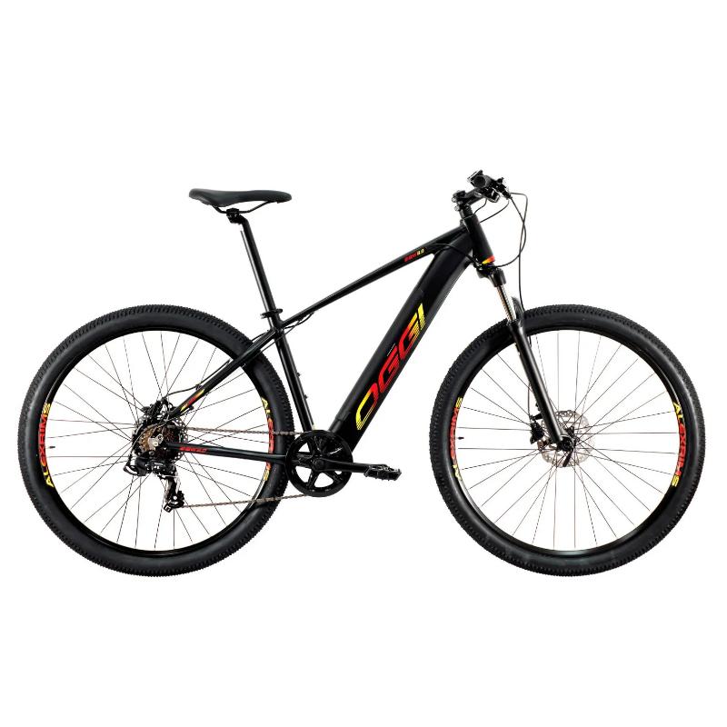 Bicicleta Elétrica Oggi 29 Roda Grande 8.0 7V Preto/Vermelho/Amarelo 19