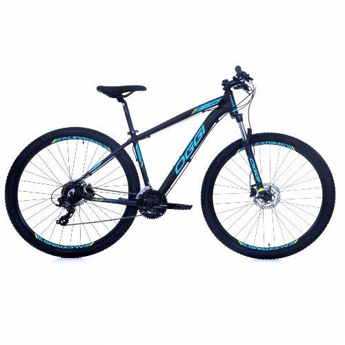 Bicicleta Oggi 29 Hacker Hidraulicos Preto/Azul/Fluorescente Tamanho 17