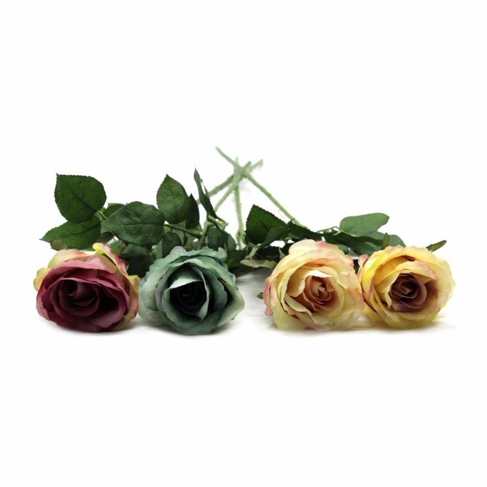 12 Rosas Envelhecidas Artificiais Para Decoração