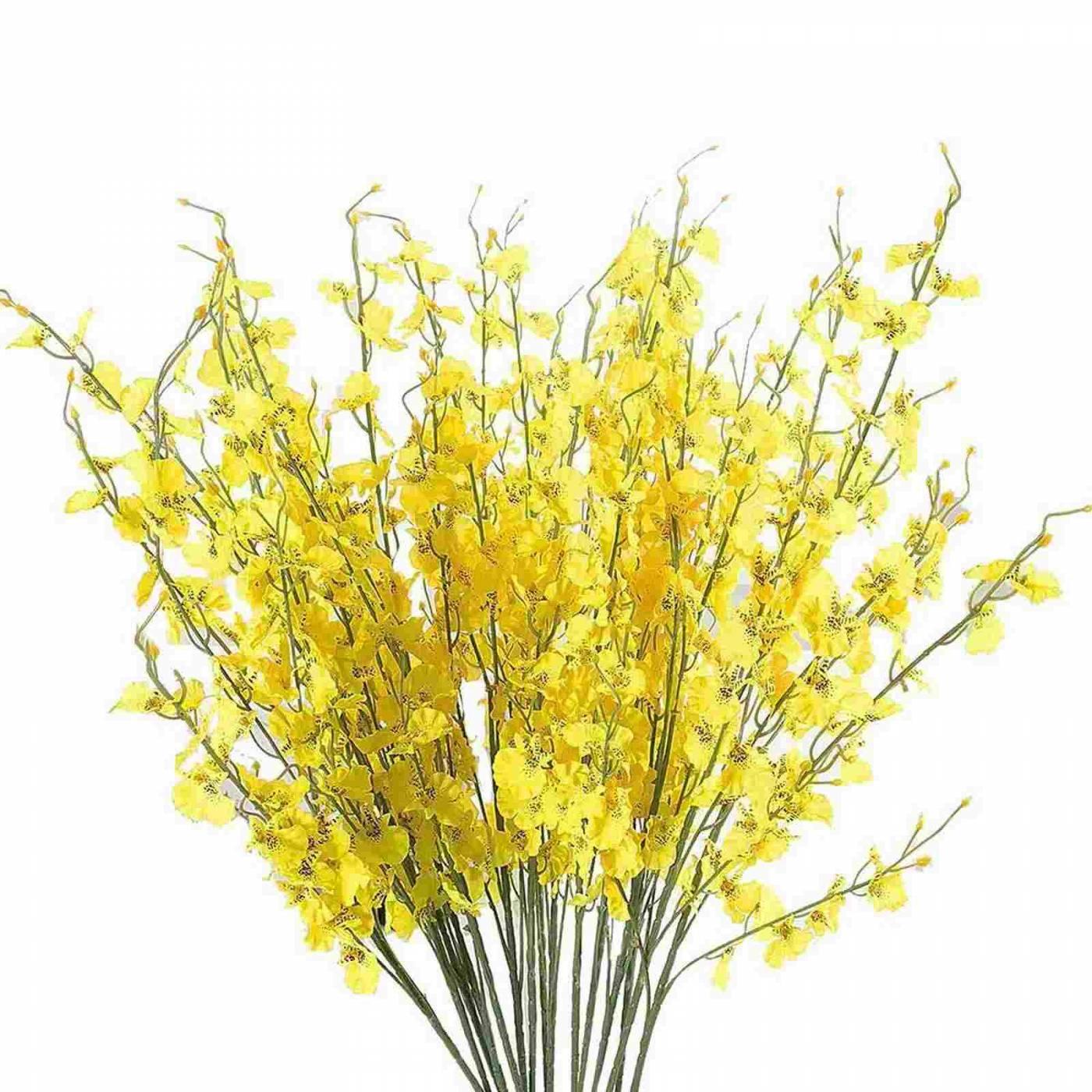 20 Galhos de orquídeas artificiais amarela