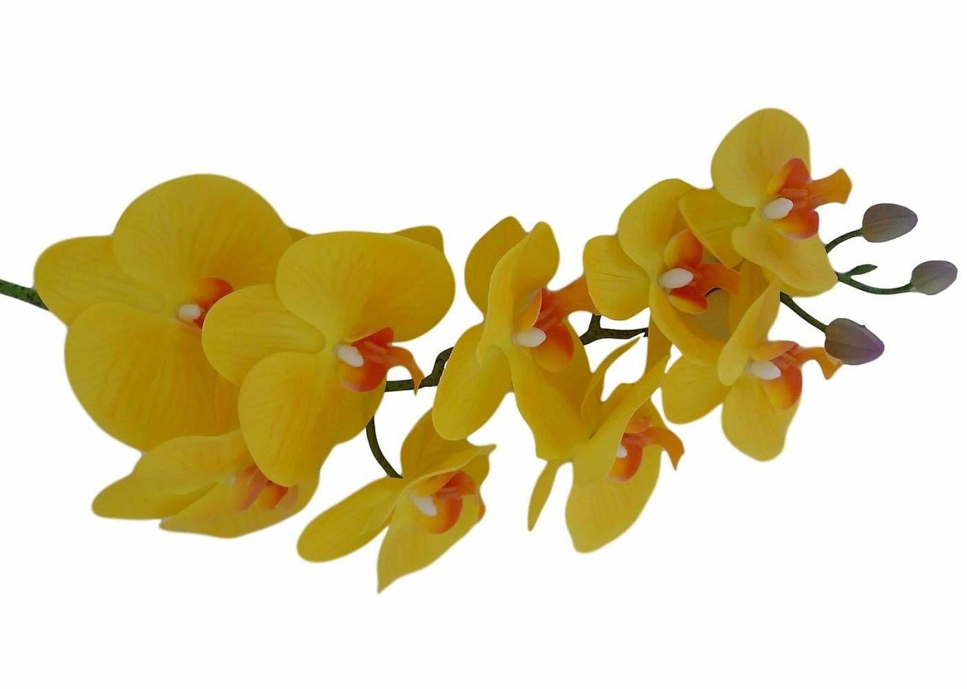 2 Orquídeas artificiais de silicone flor permanente para enfeites