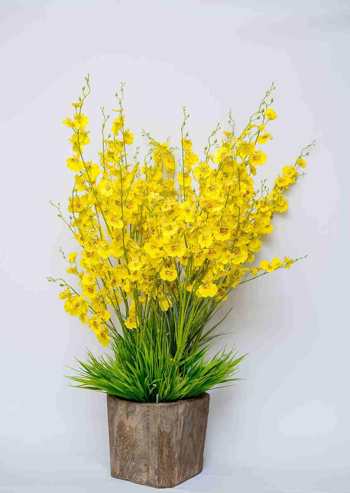 4 Orquideas Chuva de Ouro Permanente Flor artificial