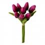 Flor Artificial Buquê de Tulipa Artificial com 8 Botões e Folhagens em Silicone
