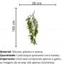 Planta Artificial Pendente Galho de Samambaia 100 cm em Silicone Premium