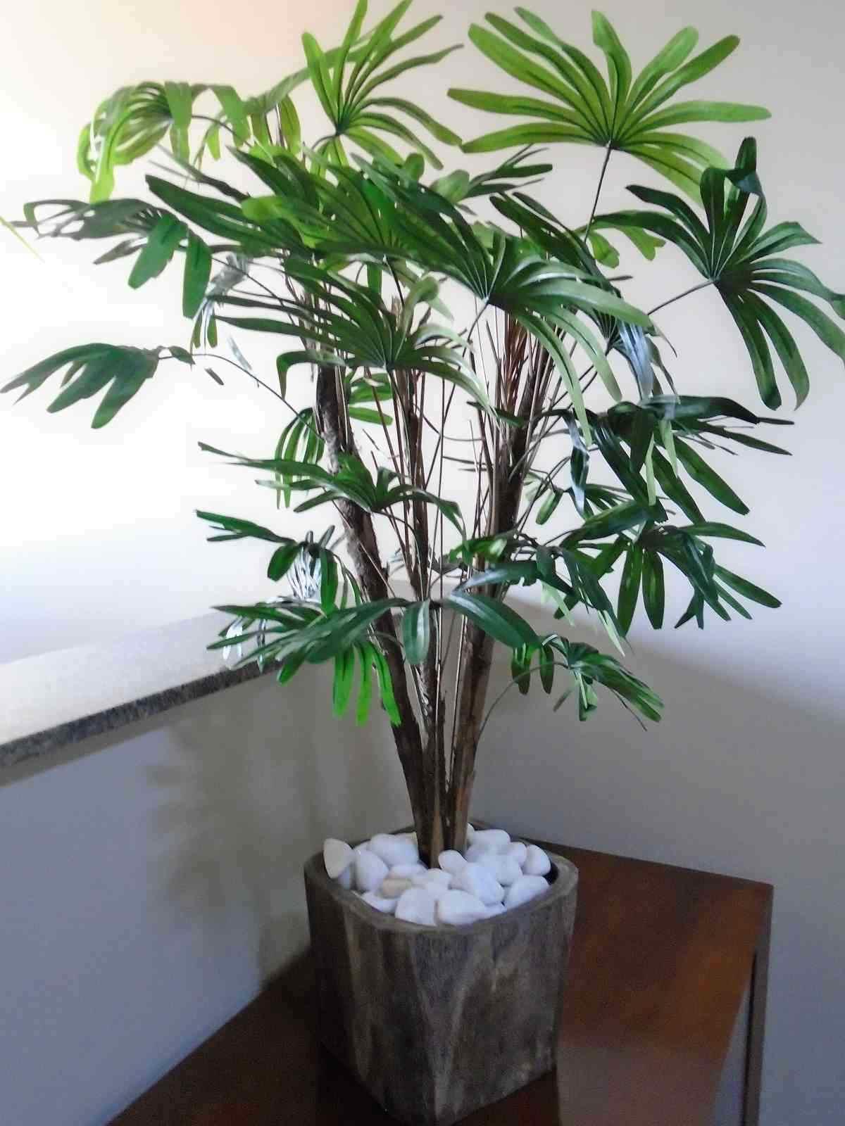 Árvore Artificial Rafia Verde Folhas Tronco Natural 100 Cm
