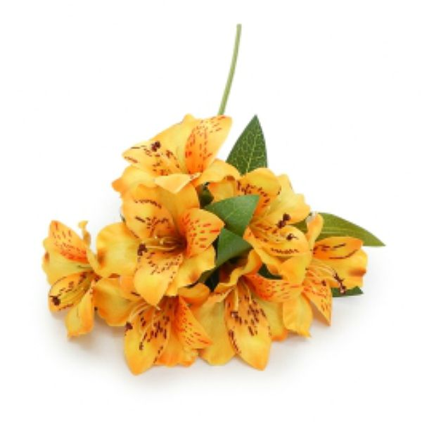 Flor Artificial Astromélia amarela para arranjos e vasos