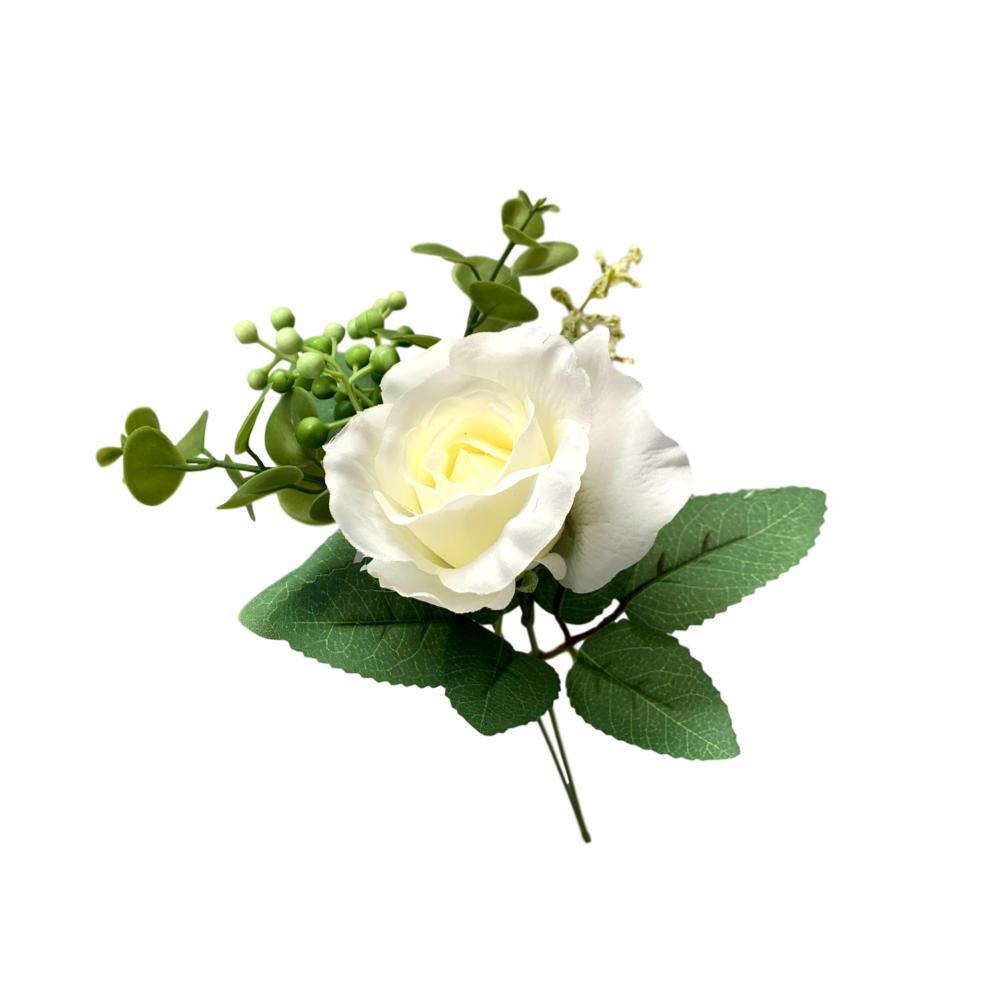 Buque de rosas flores artificiais Premium na cor branca