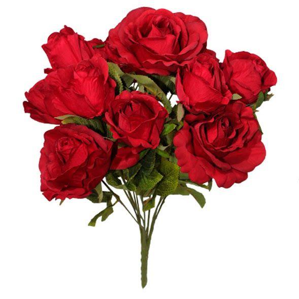 Buques de rosas Vermelhas Artificiais com Folhagens