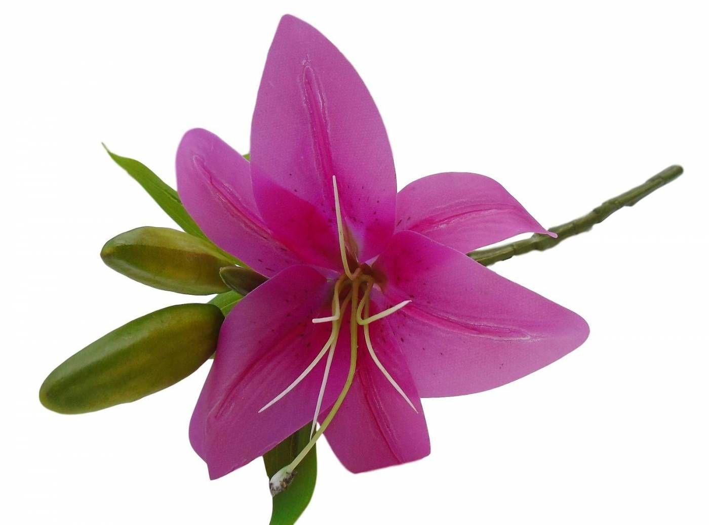 Flor artificial Lírio em silicone toque real para decoração