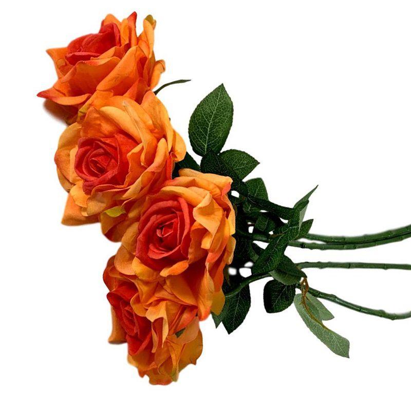 Flores Artificiais Kit com 6 Rosas em silicone para Decoração Cor Laranja
