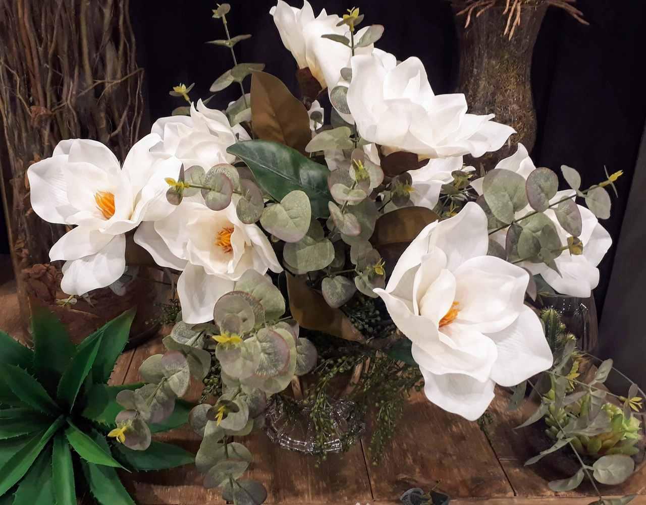 Flores artificiais Magnólia para decoração silicone toque real Branca