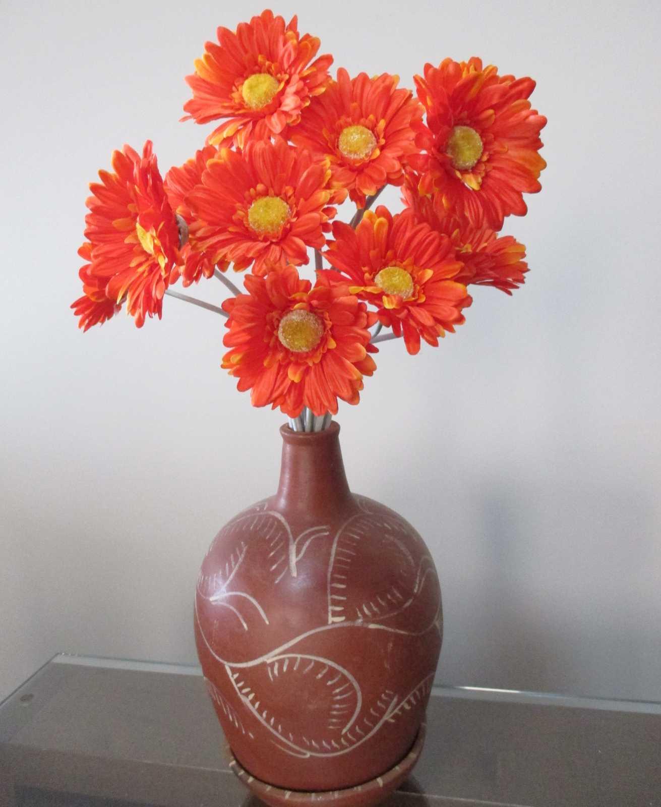 Gerbera artificial flor do campo cor laranja
