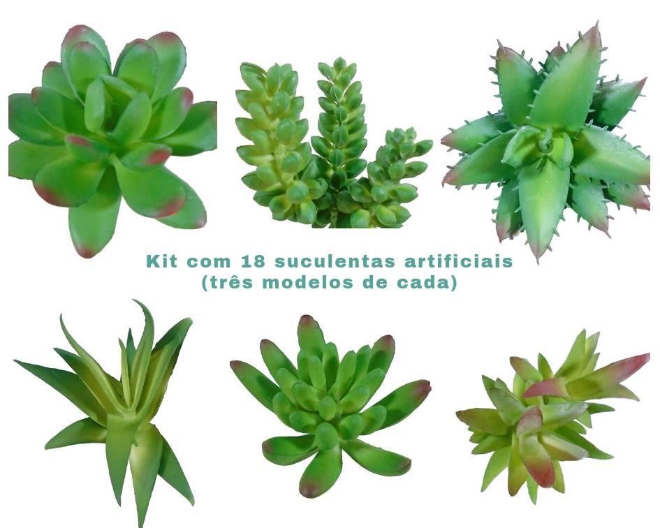 Kit 30 suculentas Sortidas em Silicone na cor verde