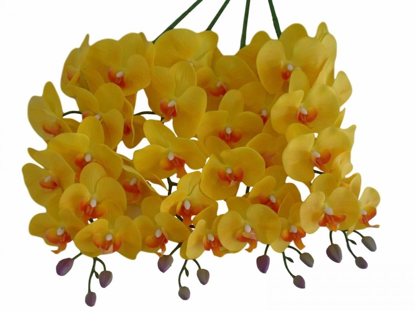 Kit 4 Orquídeas artificiais silicone cores Pink, branca e amarela