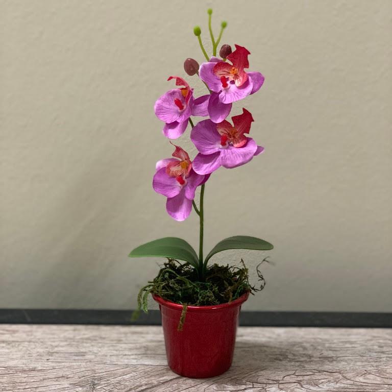 Mini orquidea artificial flor para lembrancinha cor rosa