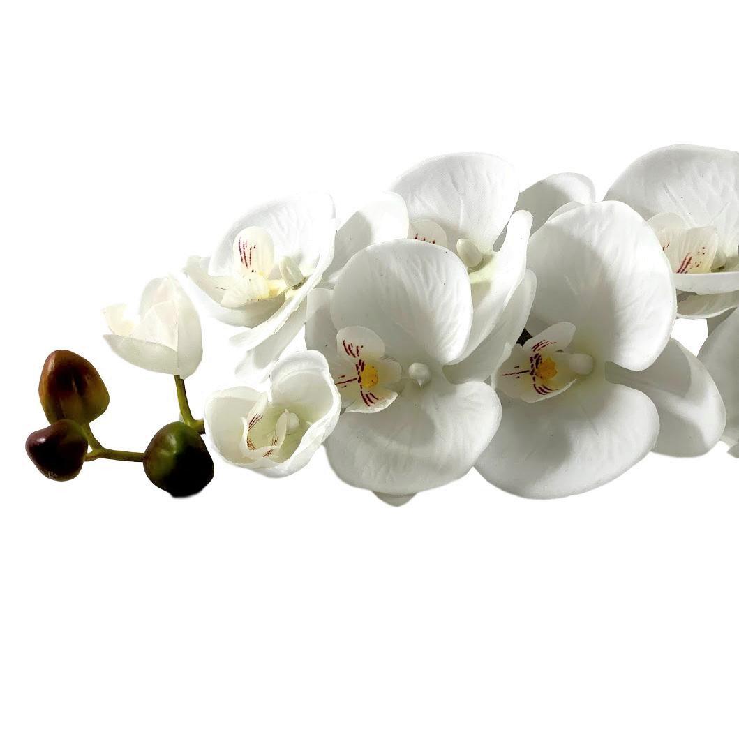 Orquídea em silicone branca planta artificial realista
