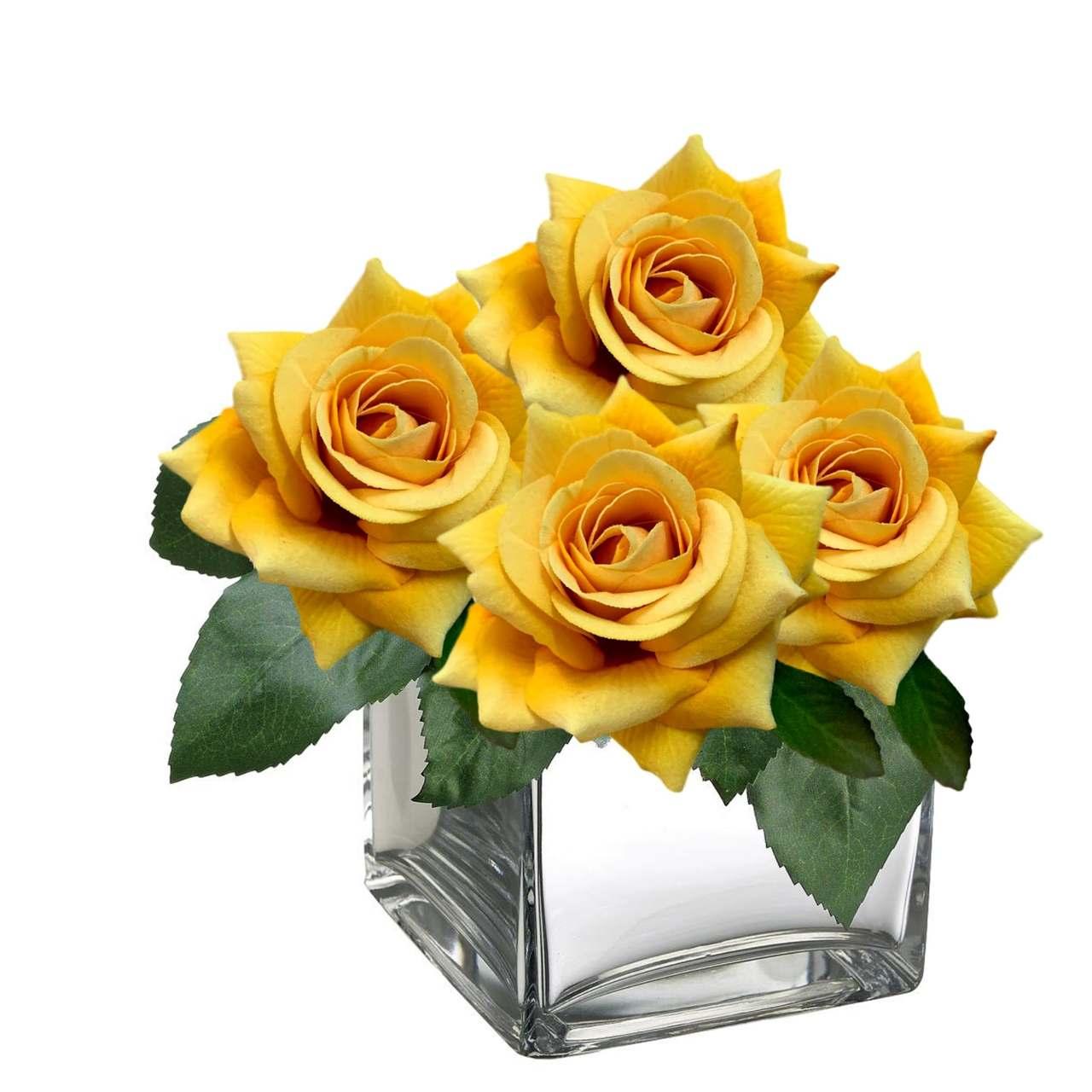 Rosa artificial flor aveludada cor amarela