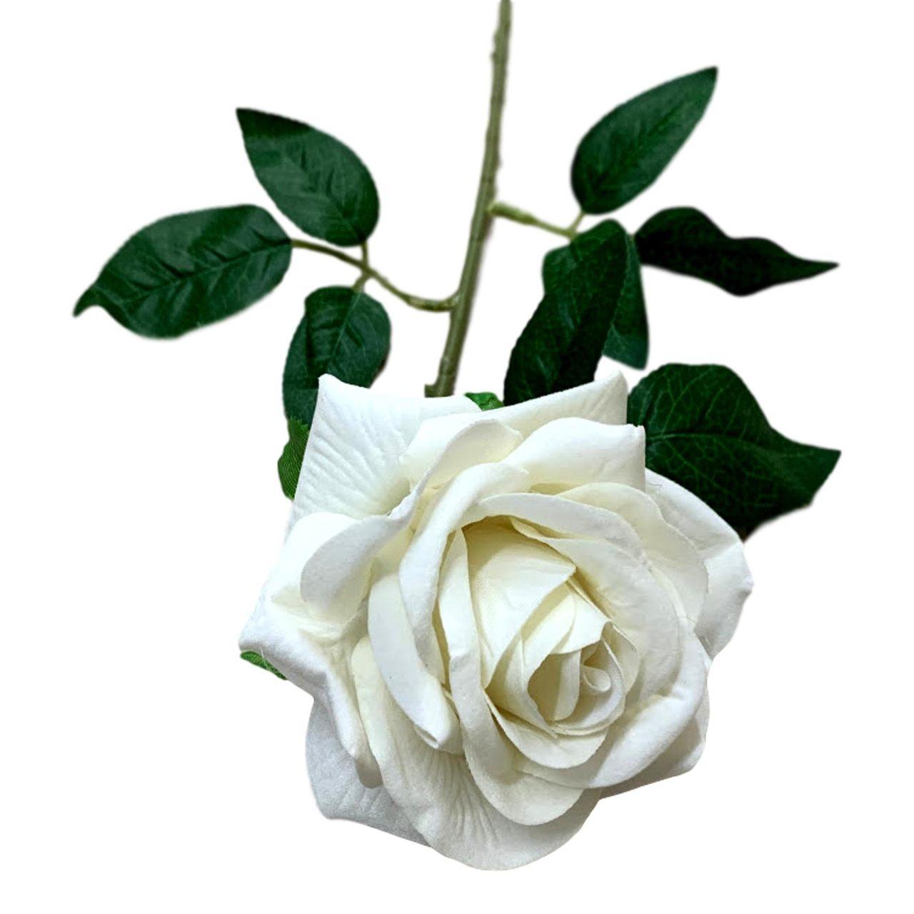 Rosa artificial flor aveludada cor branca
