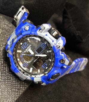 Relógio Casio G-Shock Anadigi - camuflado/AZUL MODELO3 LINHA PREMIUM