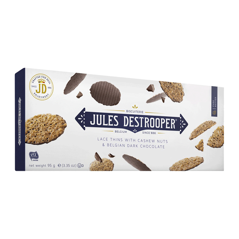 JULES DESTROOPER LACE THINS WITH CASHEW NUTS E BELGIAN DARK CHOCOLATE - 100g  - Empório Pata Negra