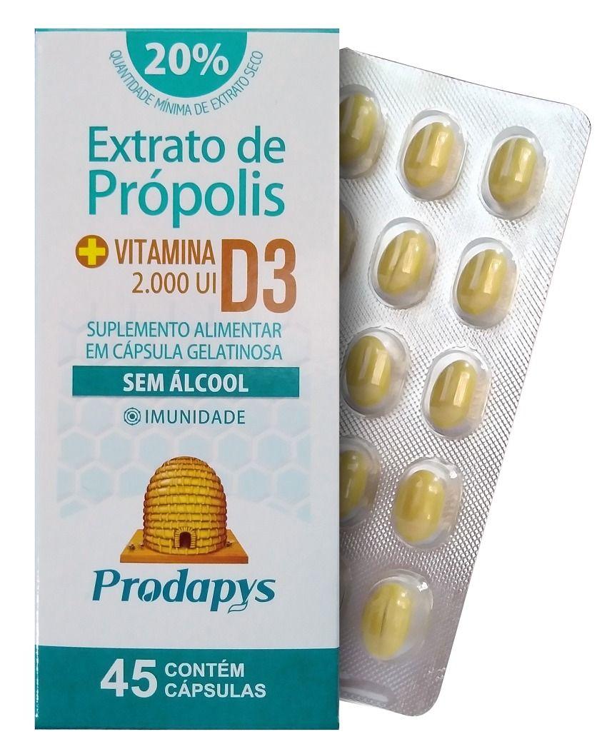 Extrato de Própolis com Vitamina D3 2000 UI 45 Cápsulas Prodapys