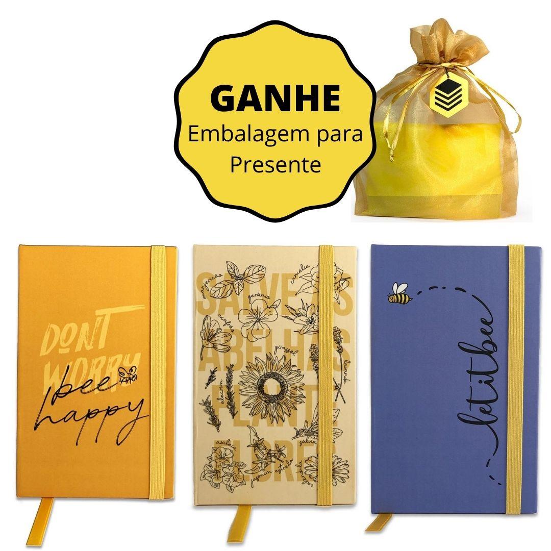 Kit 3 Mini Cadernos de Anotações (Don't Worry + Salve as Abelhas + Let it Bee) - GANHE Embalagem de Presente