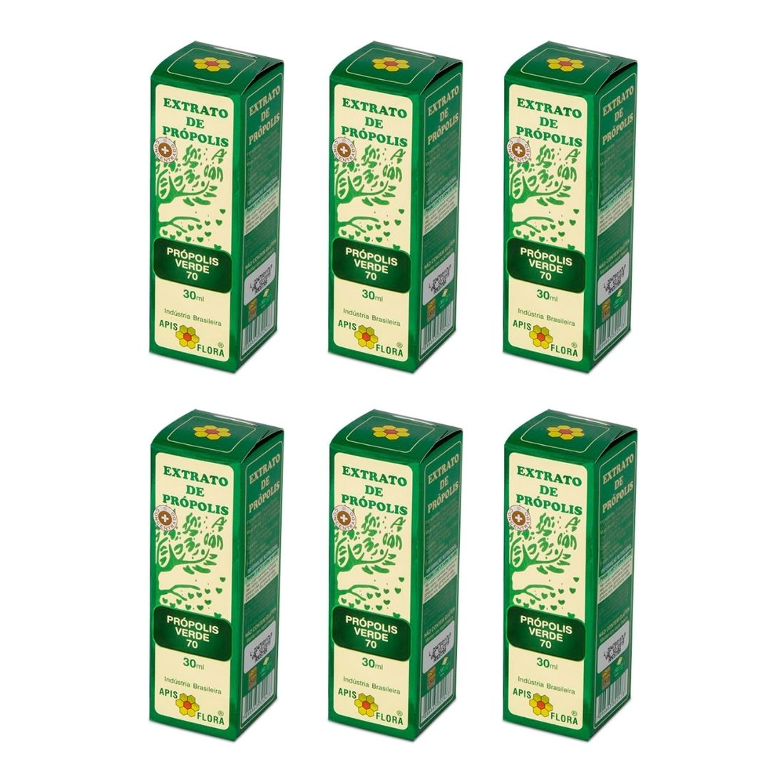Kit 6 Extratos de Própolis Verde 70 Apis Flora 30 ml