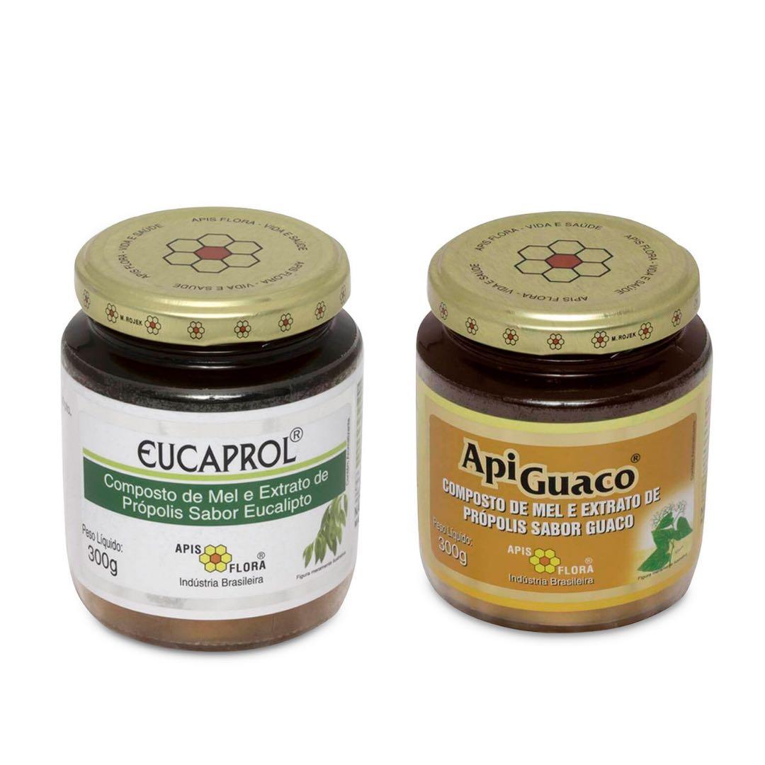 Kit Apiguaco (Mel com Própolis e Guaco) + Eucaprol (Mel com Própolis e Eucalipto)