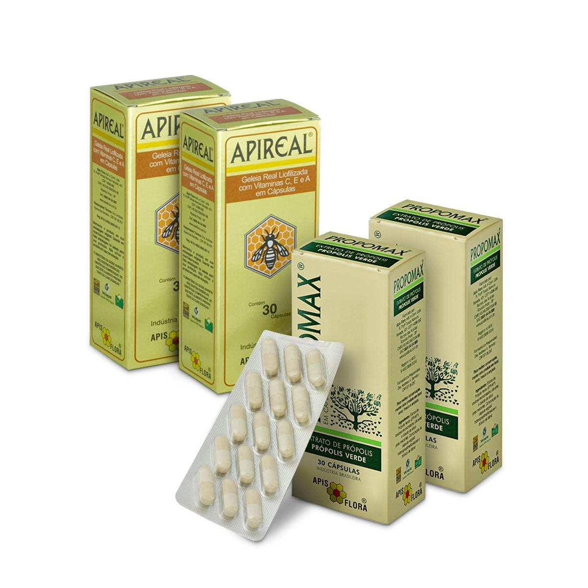 Kit Imunidade - 2 APIREAL Geleia Real Cápsulas + 2 PROPOMAX Cápsulas