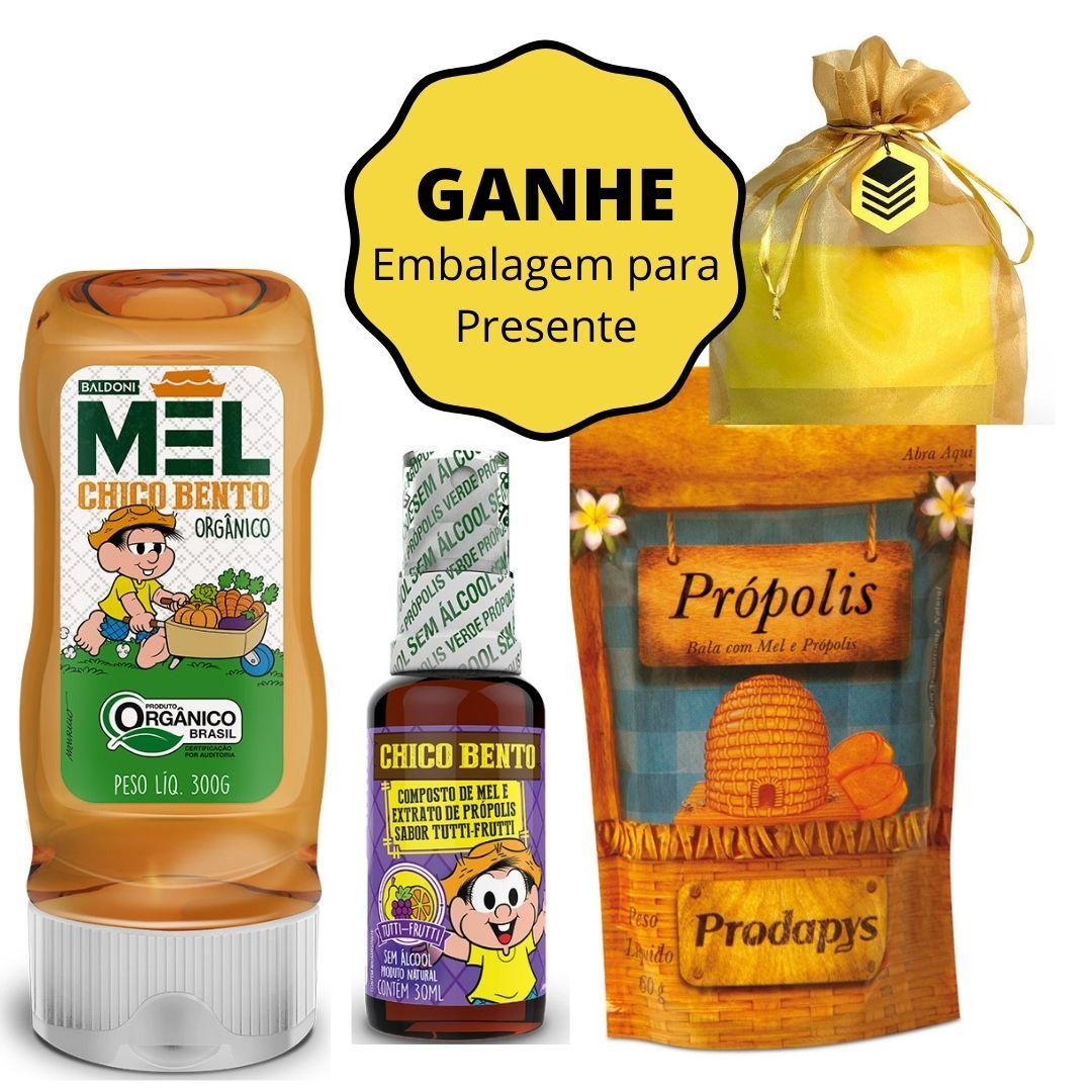 Kit Mel Orgânico Chico Bento + Spray Chico Bento Tutti-Fruti + Bala de Mel e Própolis (GANHE Embalagem para Presente)