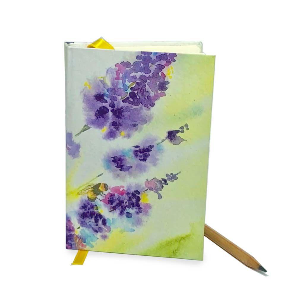 Mini Caderno de Anotações - Abelha Bombus em Flor de Lavanda