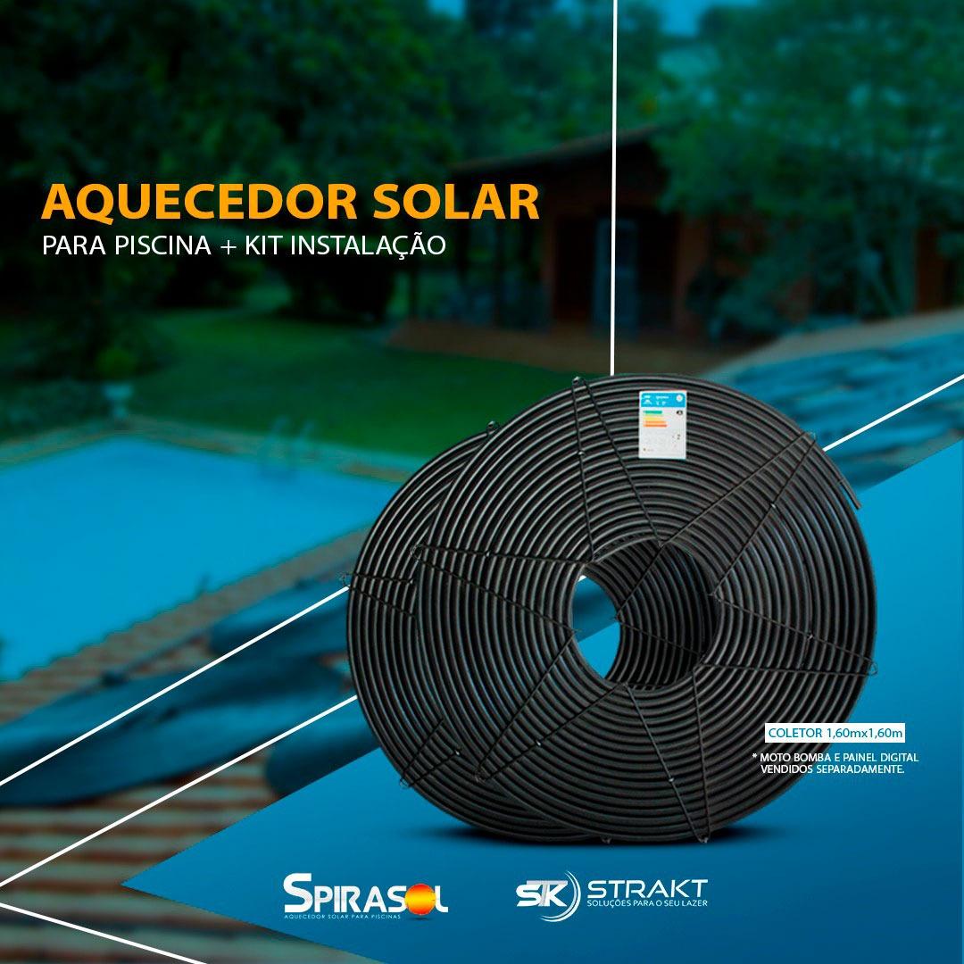 Aquecedor Solar Piscina 1M00 + Kit de Instalação - Spirasol
