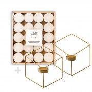 Kit Porta-Velas Wire Dourado