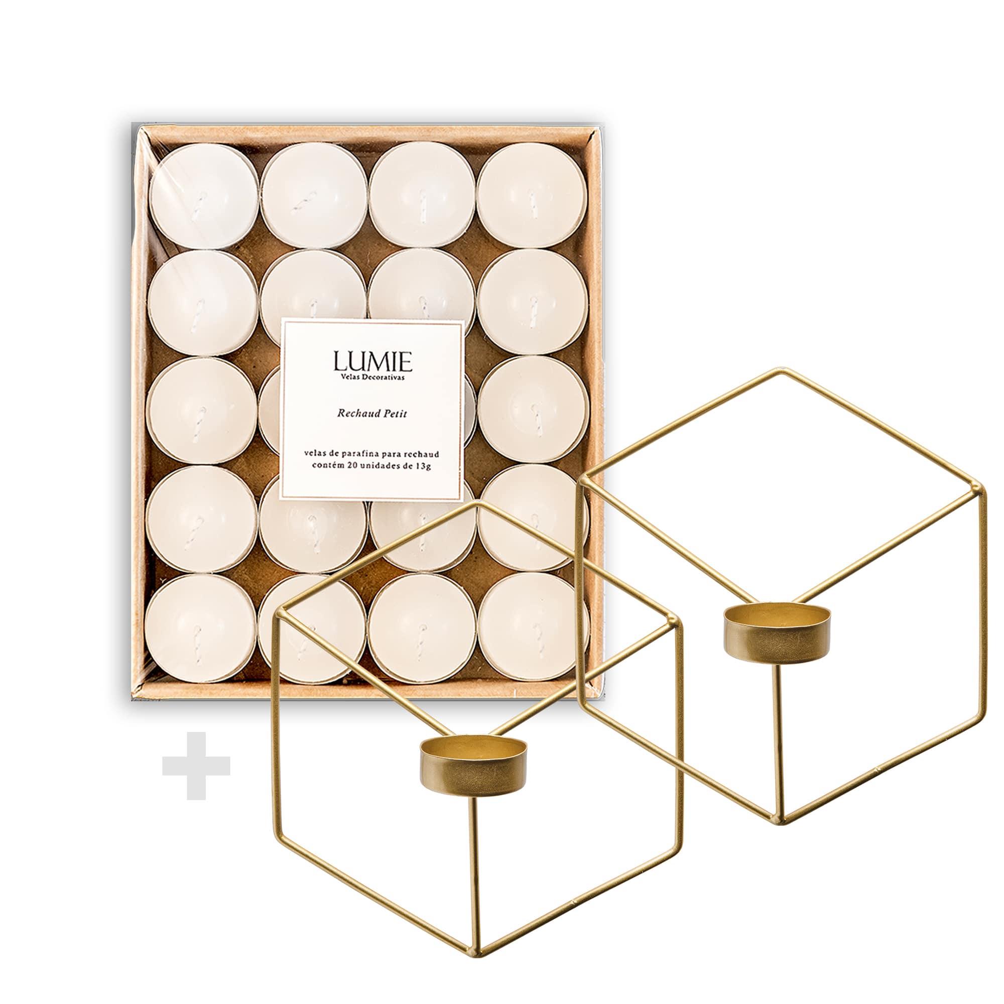 Kit Porta-Velas Wire Dourado  - Lumie Velas