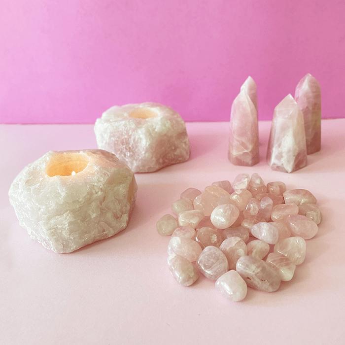 Pedra Quartzo Rosa 200g  - Lumie Velas