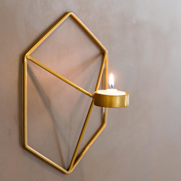 Porta Velas Wire Dourado  - Lumie Velas