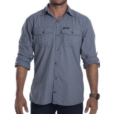 Camisa Masculina Hard Adventure Safari Cinza Azulado UV50+
