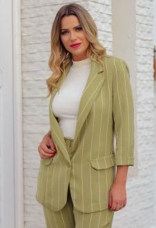 Blazer feminino listrado verde oliva manga 3/4 ref. 2661