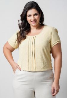 Blusa amarelo maquinetada poá plus size  Ref. U65821
