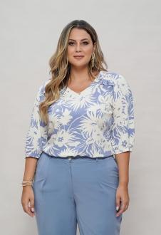 Blusa azul plus size estampada com manga  Ref. U63021