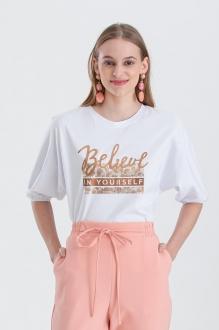 Blusa branca com estampa believe manga curta  Ref. 02658