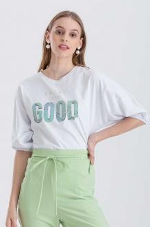 Blusa branca com estampa good  manga curta  Ref. 02658