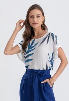 Blusa branca estampada com manga curta  Ref. 02649