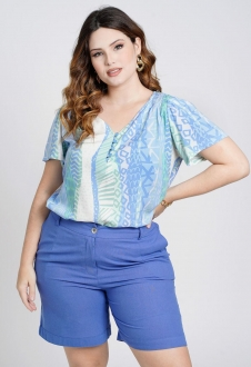 Blusa estampada elastex azul Ref. U76121