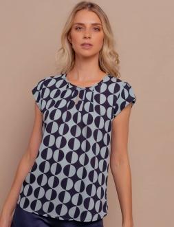 Blusa  feminina com manga azul marinho Ref. B3621