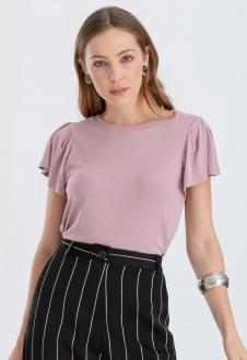 Blusa feminina de malha rosê ref. 2626