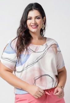 Blusa feminina estampada  plus size  Ref. U67721