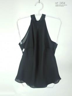 Blusa  gola alta preta com faixa para amarrar ref. 2454