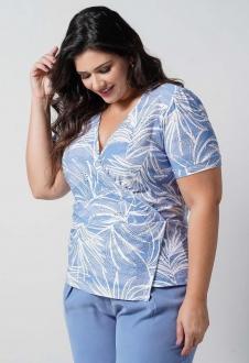 Blusa laise de malha azul  plus size  Ref. U66221