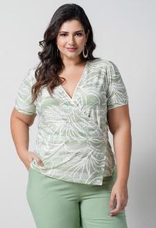 Blusa laise de malha verde plus size  Ref. U66221